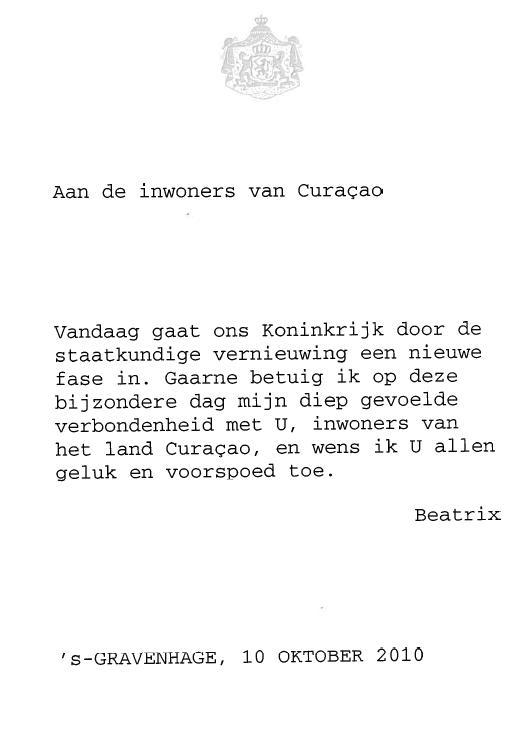 curacao nieuws telegram beatrix 10-10-10