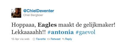 Tweet over Antonia van Chiel Bergboer