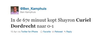 Tweet over Curiel van Ben Kamphuis