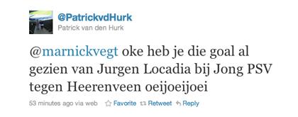De tweet van Patrick van den Hurk over Jürgen Locadia