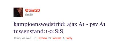 Tweet over Ajax A1-PSV A1 van @tiim20
