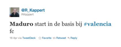 Tweet over Maduro van @R_Kappert
