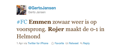 De tweet van Gerto Jansen over Rojer
