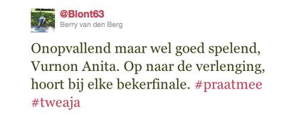 Tweet over Anita van Berry van den Berg
