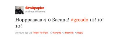 Tweet over Bacuna van Andreas Willemse