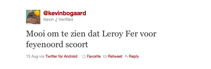 Tweet over Fer van Kevin Bogaard