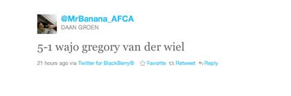 Tweet over Van der Wiel van Daan Groen