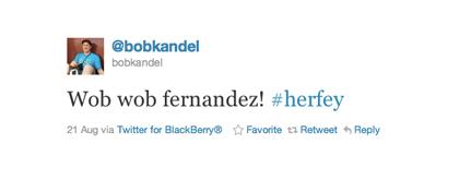 Tweet van Bob Kandel over Fernandez