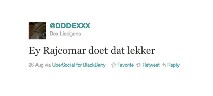 Tweet van Dex Liedgens over Rajcomar