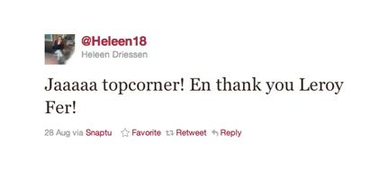 Tweet van Heleen Driessen over Fer