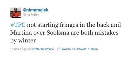 Tweet van Nima Malek over Martina