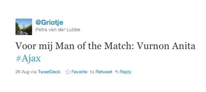 Tweet van Petra van der Lubbe over Anita