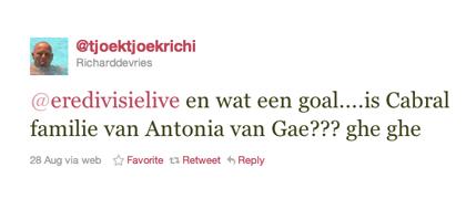 Tweet van Richard de Vries over Antonia
