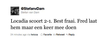 Tweet van Stefan van Dam over Locadia