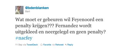 Tweet van Bart van Blanken over Fernandez