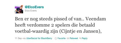Tweet van Elco Evers over Cijntje