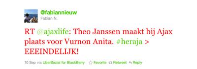 Tweet van Fabian Nieuw over Anita