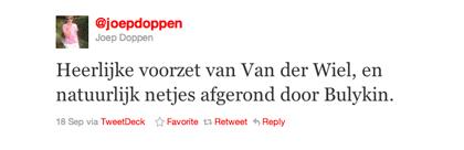 Tweet van Joep Doppen over Van der Wiel