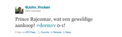 Tweet van John Voncken over Prince Rajcomar