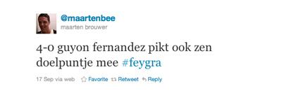 Tweet van Maarten Brouwer over Fernandez