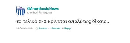 Tweet van Anorthosis Famagusta over Sprockel