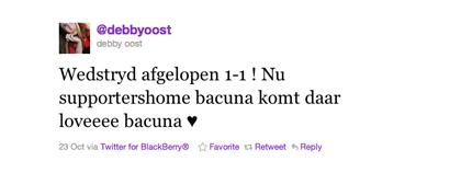 Tweet van Debby Oost over Bacuna