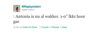 Tweet van Niek over Antonia