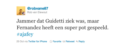 Tweet van Rob van Elewout over Fernandez