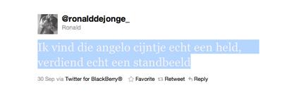 Tweet van Ronald de Jonge over Angelo Cijntje