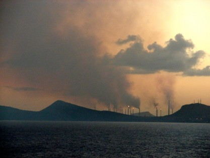 Oil Refinery Smoke Over Curacao
